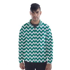 Emerald Green & White Zigzag Pattern Wind Breaker (men) by Zandiepants