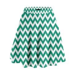 Emerald Green & White Zigzag Pattern High Waist Skirt by Zandiepants