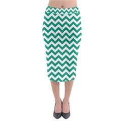 Emerald Green & White Zigzag Pattern Midi Pencil Skirt by Zandiepants