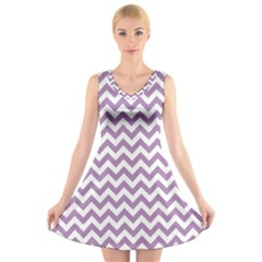 Lilac Purple & White Zigzag Pattern V Neck Sleeveless Skater Dress