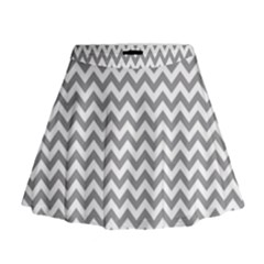Medium Grey & White Zigzag Pattern Mini Flare Skirt by Zandiepants