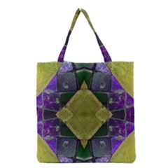 Purple Yellow Stone Abstract Grocery Tote Bag by BrightVibesDesign