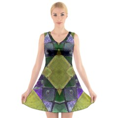 Purple Yellow Stone Abstract V Neck Sleeveless Skater Dress by BrightVibesDesign