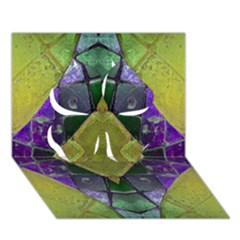 Purple Yellow Stone Abstract Clover 3d Greeting Card (7x5)
