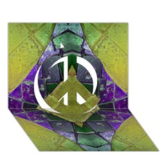 Purple Yellow Stone Abstract Peace Sign 3d Greeting Card (7x5)  by BrightVibesDesign