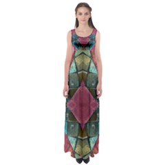 Pink Turquoise Stone Abstract Empire Waist Maxi Dress by BrightVibesDesign