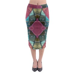 Pink Turquoise Stone Abstract Midi Pencil Skirt by BrightVibesDesign