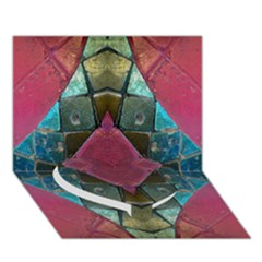 Pink Turquoise Stone Abstract Heart Bottom 3d Greeting Card (7x5)  by BrightVibesDesign
