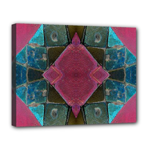 Pink Turquoise Stone Abstract Canvas 14  X 11  by BrightVibesDesign