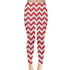 Poppy Red & White Zigzag Pattern Winter Leggings