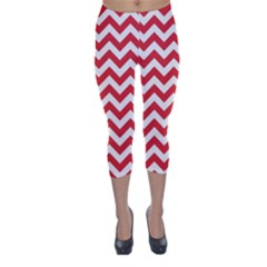 Poppy Red & White Zigzag Pattern Capri Winter Leggings