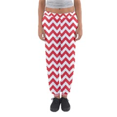 Poppy Red & White Zigzag Pattern Women s Jogger Sweatpants