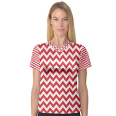 Poppy Red & White Zigzag Pattern Women s V Neck Sport Mesh Tee