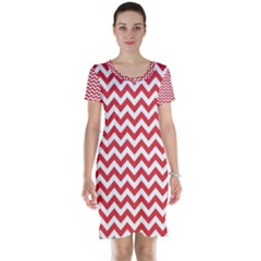 Poppy Red & White Zigzag Pattern Short Sleeve Nightdress