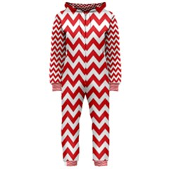 Poppy Red & White Zigzag Pattern Hooded Jumpsuit (ladies)