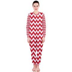 Poppy Red & White Zigzag Pattern Onepiece Jumpsuit (ladies)