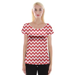 Poppy Red & White Zigzag Pattern Women s Cap Sleeve Top