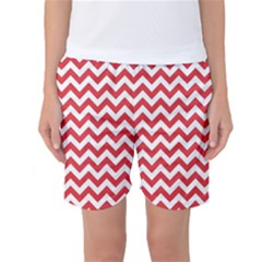 Poppy Red & White Zigzag Pattern Women s Basketball Shorts