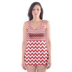 Poppy Red & White Zigzag Pattern Skater Dress Swimsuit