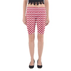 Poppy Red & White Zigzag Pattern Yoga Cropped Leggings