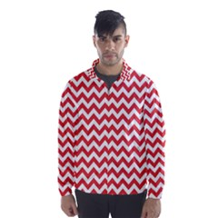 Poppy Red & White Zigzag Pattern Wind Breaker (men)
