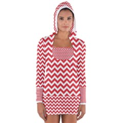 Poppy Red & White Zigzag Pattern Women s Long Sleeve Hooded T Shirt