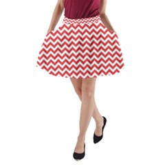 Poppy Red & White Zigzag Pattern A Line Pocket Skirt
