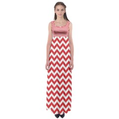 Poppy Red & White Zigzag Pattern Empire Waist Maxi Dress
