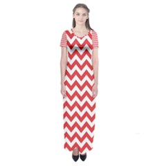 Poppy Red & White Zigzag Pattern Short Sleeve Maxi Dress by Zandiepants