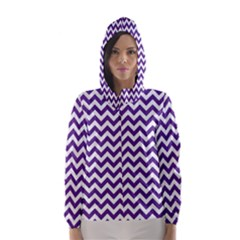 Royal Purple & White Zigzag Pattern Hooded Wind Breaker (women) by Zandiepants