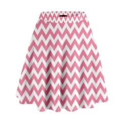 Soft Pink & White Zigzag Pattern High Waist Skirt by Zandiepants