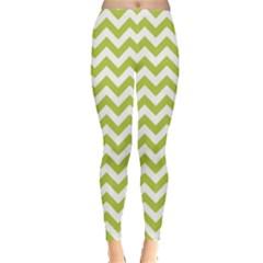 Spring Green & White Zigzag Pattern Leggings