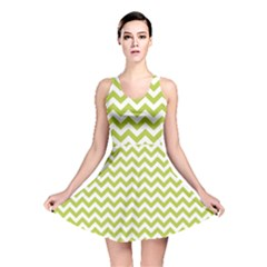 Spring Green & White Zigzag Pattern Reversible Skater Dress