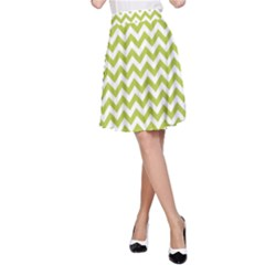 Spring Green & White Zigzag Pattern A Line Skirt