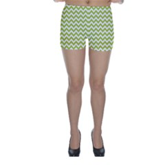 Spring Green & White Zigzag Pattern Skinny Shorts