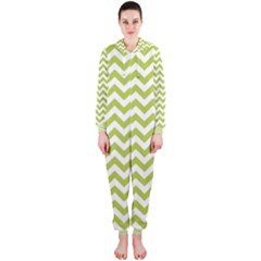 Spring Green & White Zigzag Pattern Hooded Jumpsuit (ladies)