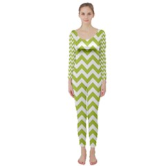 Spring Green & White Zigzag Pattern Long Sleeve Catsuit
