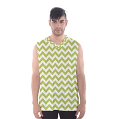 Spring Green & White Zigzag Pattern Men s Basketball Tank Top