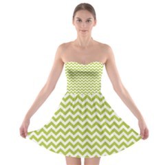 Spring Green & White Zigzag Pattern Strapless Dresses