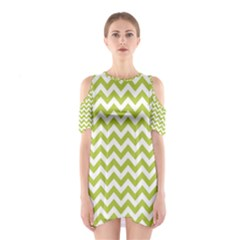 Spring Green & White Zigzag Pattern Cutout Shoulder Dress