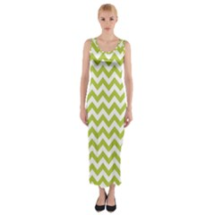 Spring Green & White Zigzag Pattern Fitted Maxi Dress