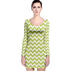 Spring Green & White Zigzag Pattern Long Sleeve Velvet Bodycon Dress