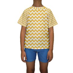 Sunny Yellow & White Zigzag Pattern Kid s Short Sleeve Swimwear