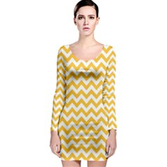 Sunny Yellow & White Zigzag Pattern Long Sleeve Bodycon Dress