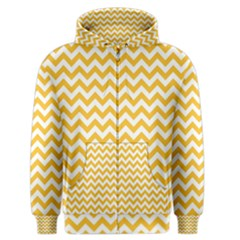 Sunny Yellow & White Zigzag Pattern Men s Zipper Hoodie