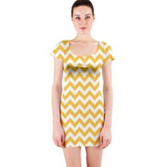 Sunny Yellow & White Zigzag Pattern Short Sleeve Bodycon Dress