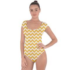 Sunny Yellow & White Zigzag Pattern Short Sleeve Leotard (ladies)