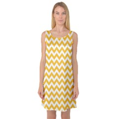 Sunny Yellow & White Zigzag Pattern Sleeveless Satin Nightdress