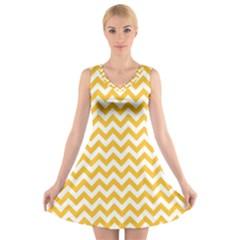 Sunny Yellow & White Zigzag Pattern V Neck Sleeveless Skater Dress
