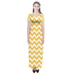 Sunny Yellow & White Zigzag Pattern Short Sleeve Maxi Dress